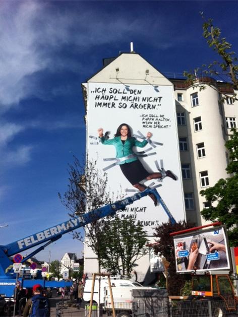 Werbung der Wiener Grünen am Naschmarkt