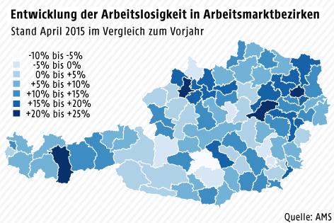 Entwicklung der Arbeitslosigkeit in Arbeitsmarktbezirken, 2015