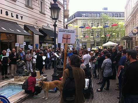 Künstler Demo gegen Förderstopp