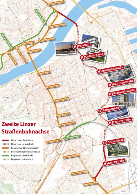 Stadt Linz und Land OÖ haben sich auf Trassenplan für die zweite Straßenbahnachse geeinigt