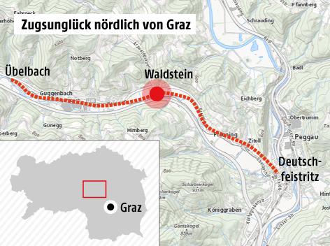 Karte zeigt den Unglücksort Waldstein zwischen Deutschfeistritz und Übelbach