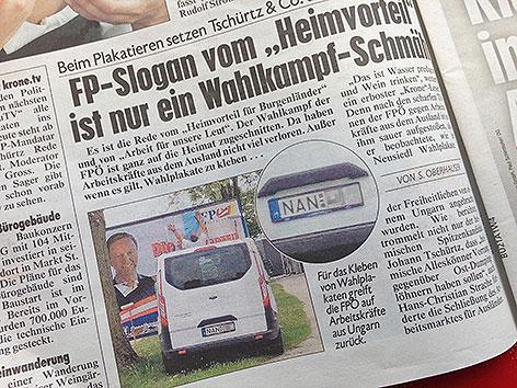 """Foto in der """"Kronen Zeitung"""""""