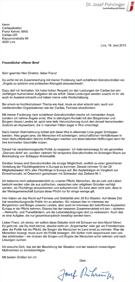 Offener Breif LH Pühringers an Caritasdirektor