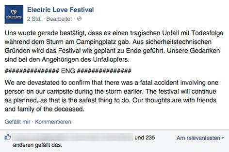 Facebook-Posting des Electronic Love Festivals