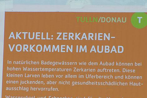 Tafel mit Warnung vor Zerkarien im Aubad Tulln