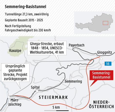 Plan des Semmering-Tunnels
