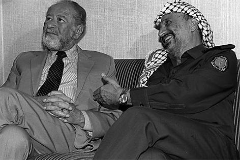 Bruno Kreisky und Palästinenser-Führer Yasser Arafat am 08.07.1986 in Wien