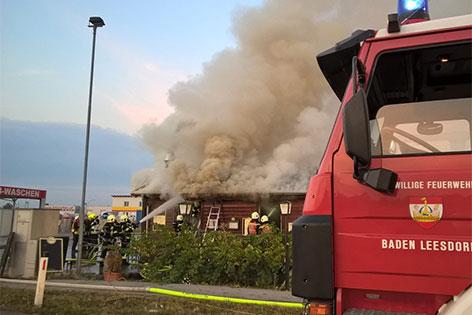 Brand einer Imbisshütte in Baden