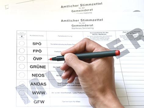 Stimmzettel für die Gemeinderatswahl in Wien 2015