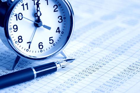 Arbeitszeit: Uhr und Liste