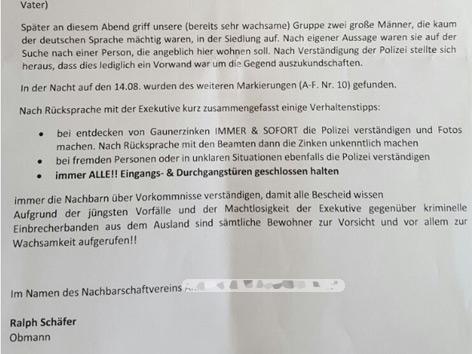 Brief der Bürgerwehr an Anrainer Wels-Laahen