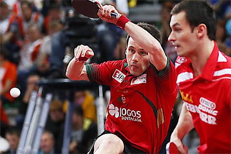 Tischtennis Doppel Europameister Fegerl (rechts) und Monteiro (links)