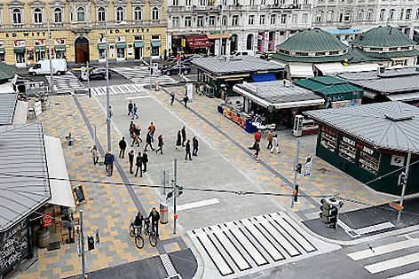 Neue Begegnungszone Schleifmühlbrücke Naschmarkt