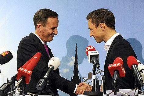Neuen Chef der Wiener ÖVP Gernot Blümel (r.) und Manfred Juraczka