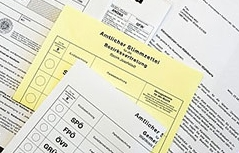 Stimmzettel für die Wiener Landtags-, Gemeinderats- und Bezirksvertretungswahl