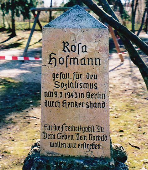 Gedenkstein für Rosa Hofmann Widerstandskämpferin Widerstand Nationalsozialismus Nazi Antifaschistin