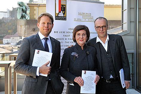 Das Direktorium der Salzburger Festspiele - Florian Wiegand (Leitung Konzert), Helga Rabl-Stadler (Festspiel-Präsidentin), Sven-Eric-Bechtolf (Leitung Schauspiel)