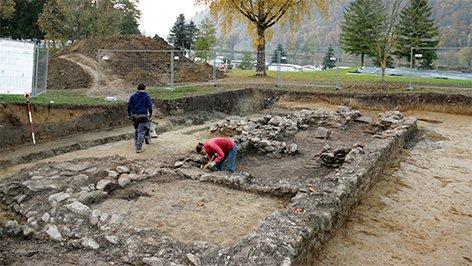 Ausgrabung eines römischen Bades