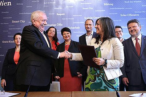 Bürgermeister Michael Häupl (SPÖ) und Maria Vassilakou (Grüne)