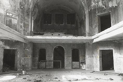 Zerstörte Synagoge Sankt Pölten 1938