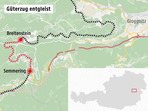 Grafik zeigt Bahnstrecke am Semmering