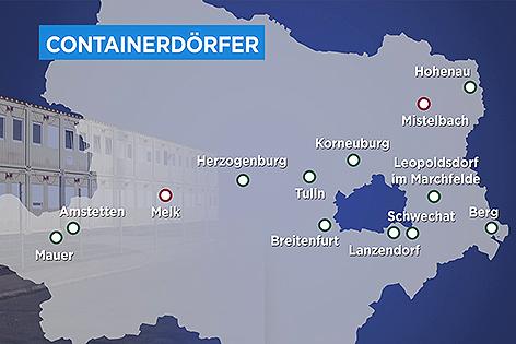 Karte mit bestehenden und geplanten Containerdörfern