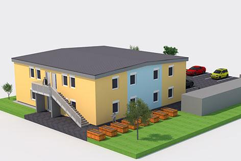 Computer-Modell des Baukomplexes