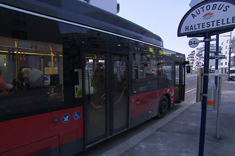 Bushaltestelle ohne Wartehäuschen in der Seestadt Aspern