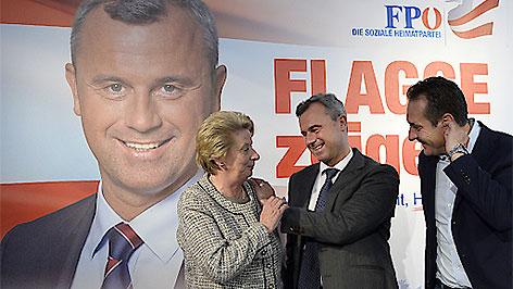 Ursula Stenzel, FPÖ-Präsidentschaftskandidat Norbert Hofer und Parteichef Heinz Christian Strache