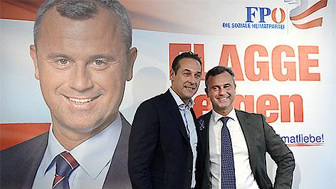 FPÖ-Präsidentschaftskandidat Norbert Hofer und Parteichef Heinz Christian Strache