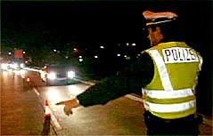 Polizeikontrolle in der Nacht