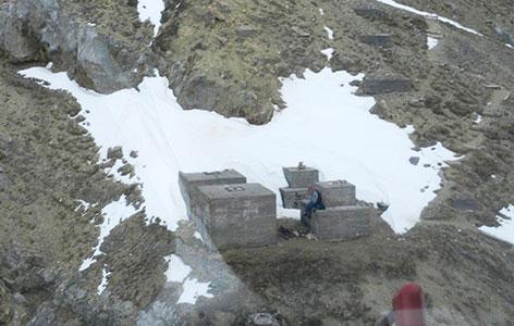 Platz der Übernachtung auf der Zugspitze