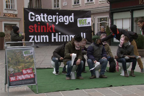 Protestaktion gegen Gatterjagd