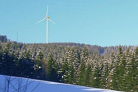 Projektfoto des Windrads auf dem Lehmberg bei Thalgau