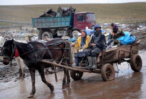 Roma mit Pferdewagenn in Rumenien