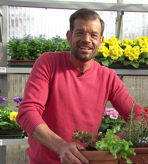 Karl Ploberger mit Gemüsepflanzen