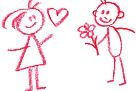 Frau und Mann gezeichnet