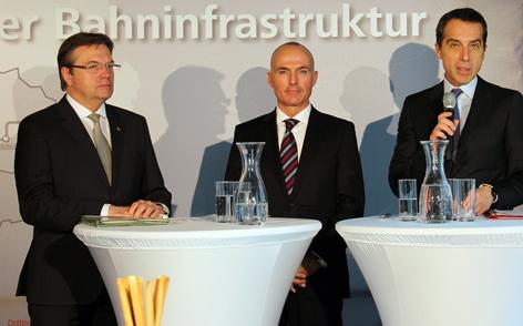 Landeshauptmann Günther Platter, Bundesminister Gerald Klug und ÖBB Vorstandsvorsitzender Christian Kern