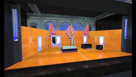 """Bühnenmodell für """"Otello darf nicht platzen"""""""