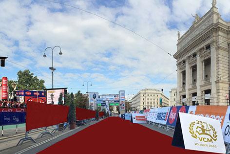Visualisierung des Marathon-Ziels beim Burgtheater