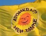 Fahne mit der Aufschrift Atomkraft Nein Danke