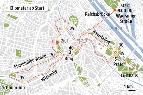 Eine Grafik zeigt die Strecke des Vienna City Marathons 2016