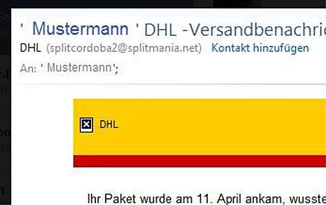 DHL Tracker Computervirus Virus PC Phishing