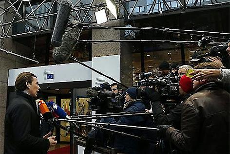 Außenminister Sebastian Kurz in Brüssel im Gespräch mit Journalisten