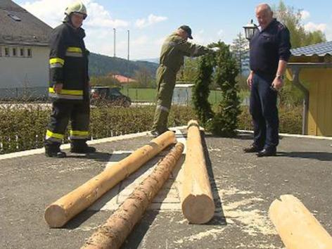 Maibaum in Preitenegg angesägt umgestürzt