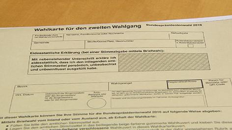 Wahlkarte für die Stichwahl