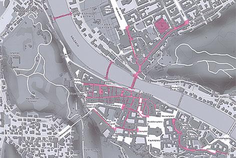 Bettelverbotszonen in der Salzburger Innenstadt mit Stand Mai 2016