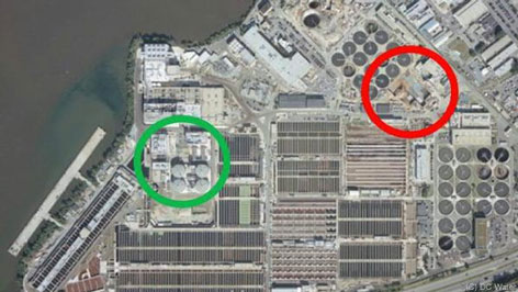 Kläranlage Blue Plains: Anlage zur Schlammfaulung (grüner Kreis), in Bau befindliche DEMON-Anlage (roter Kreis)