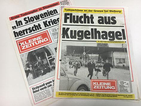 Zeitungstitelseiten 1991