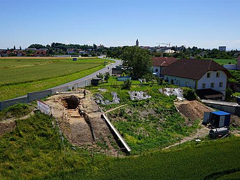 Ausgrabung eines römischen Kalkbrennofens in Lauriacum/Enns